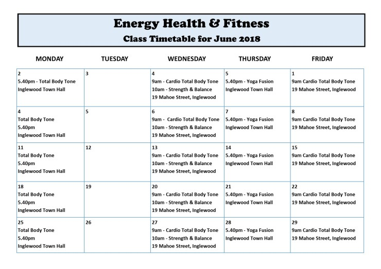 June 2018 Timetable